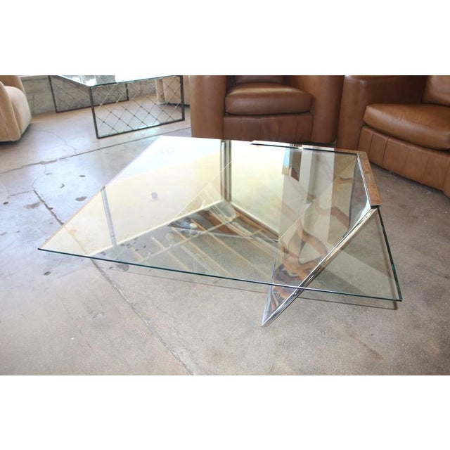 Image of Breuton SMT Glass and Polished Steel Cantilevered Coffee Table