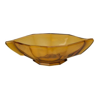 Amber Colour Pressed Glass Bowl, England c.1950