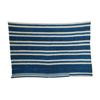 "Indigo Blue Striped Throw - 3'2"" X 4'10"""