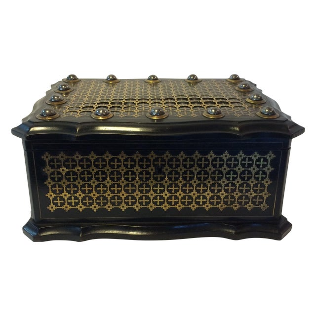 French Solid Ebony Wood Jewel Box - Image 1 of 7