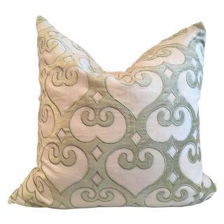 Velvet Celadon Green Geometric Design Pillows - 2