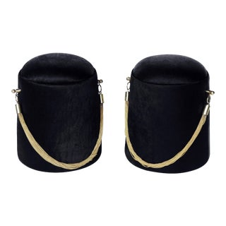"""Bearskin Hat"" Black & Gold Poufs - A Pair"