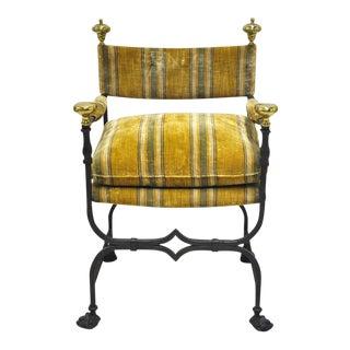 Antique Italian Iron Campaign Armchair