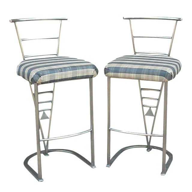 Milo Baughman Bar Stools -- A Pair - Image 1 of 10