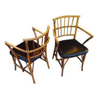 Mid-Century Bamboo Arm Chairs - A Pair