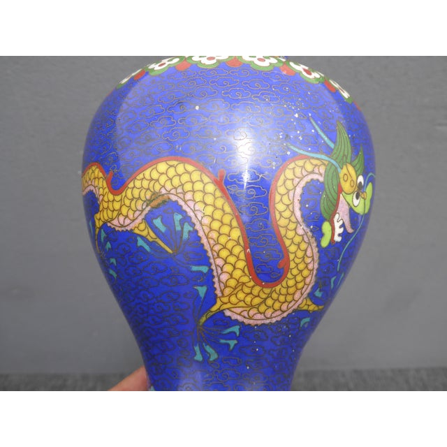 Vintage Chinese Cloisonne Brass Painted Blue Dragon Vases - A Pair - Image 9 of 11