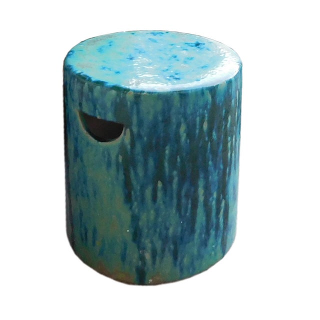 Ceramic Turquoise Green Round Garden Stool - Image 3 of 6