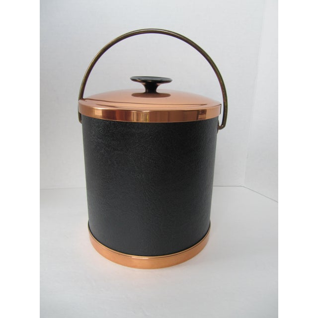 Copper & Faux Black Leather Ice Bucket & Tongs - Image 2 of 4