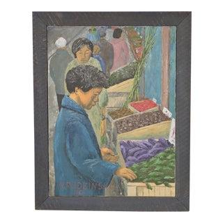 Vintage Farmers Market Oil Painting by R Rudzinski c.1965