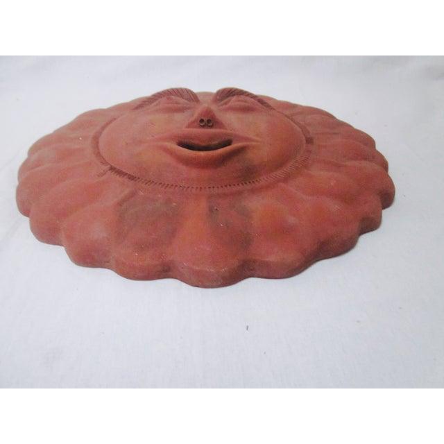 Image of Mid-Century Sun Face Pottery Sculpture