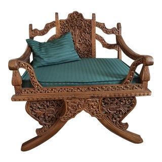 Antique Thai Hand Carved Teak Buddha Howdah Elephant Saddle Chair
