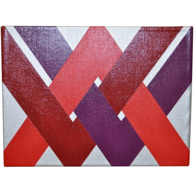 Image of 1970 Charles Hersey Vintage Op Art Painting