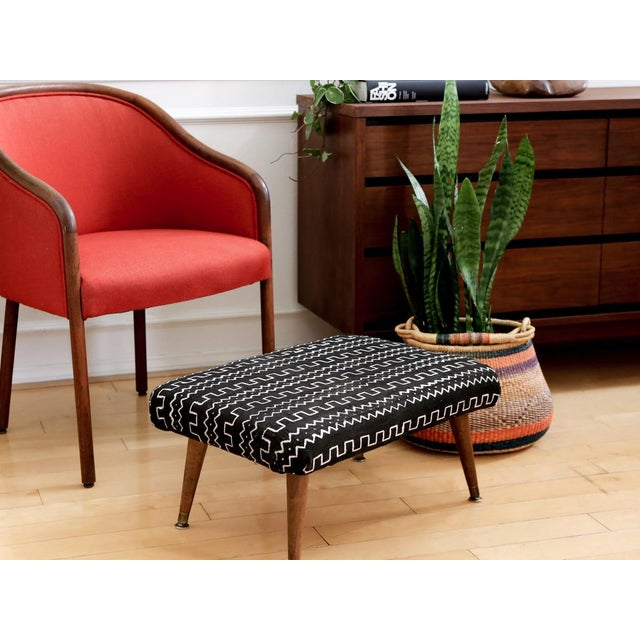 Mid-Century Modern Authentic African Mud Cloth From Mali Footstool - Image 7 of 7