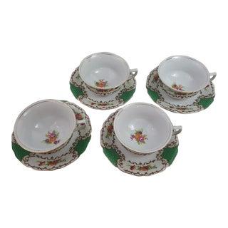 Emerald Green Tashiro Shoten Ltd, Nagoya Cup & Saucer - 4 Sets