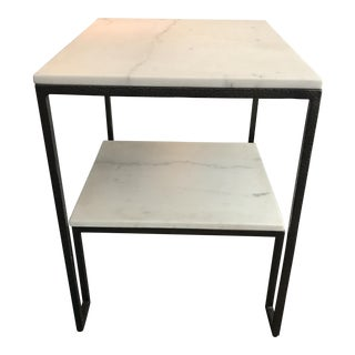 Carrara Marble 2-Tier Side Table