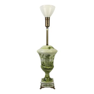 Hand Painted Marbro Ceramic & Brass Table Lamp