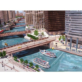 Contemporary Giclee Print - Bending Chicago