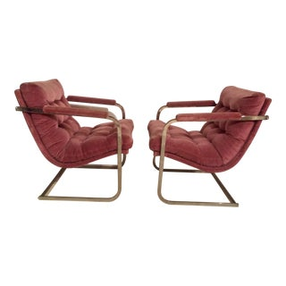 Chrome & Velvet Arm Chairs - A Pair