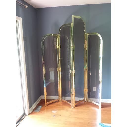 Brass & Smoked Glass Room Divider - Image 8 of 8