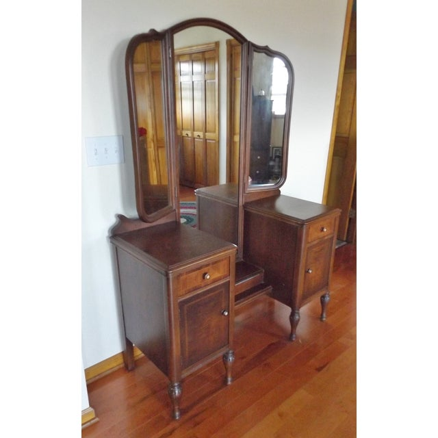 Maple Vanity With 3 Way Mirror Chairish