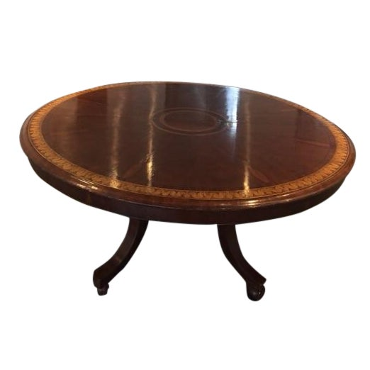 Round to Oval Inlaid Oak Extension Dining Table - Image 1 of 11