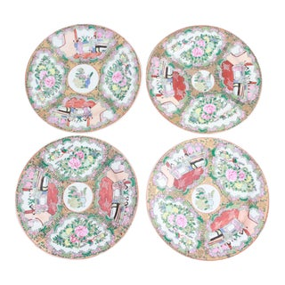 Antique 19th Century Chinese Famille Rose Medallion Large Plates - Set of 4
