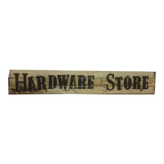 "Hand Painted On 110 Year-old Redwood Beadboard ""Hardware Store"" Sign"