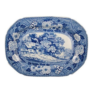 19th C. Minton Blue Monk's Rock Cottage Platter