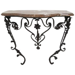 19th Century French Wrought Iron and Marble Console Table
