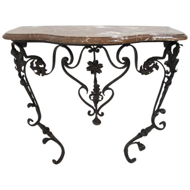 19th Century French Wrought Iron and Marble Console Table - Image 1 of 8