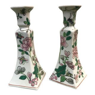 Porcelain Hand Painted Candle Holders - A Pair