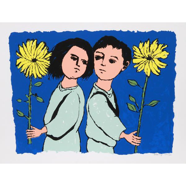"""1970 Frank Kleinholz """"Twins With Flowers"""" Print - Image 1 of 3"""