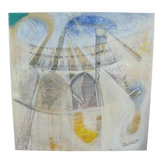 Hazy Colosseum Geometric Oil on Canvas Painting