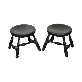 J. Fiant Custom Crafted Windsor Style Painted Stools -- A Pair