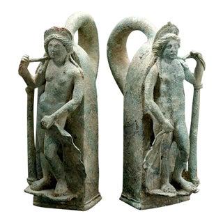 Pair of Roman Bronze Chariot Handles in the Form of Venus