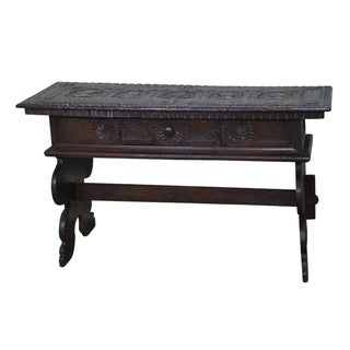 Antique Carved Spanish Revival Trestle Console Table