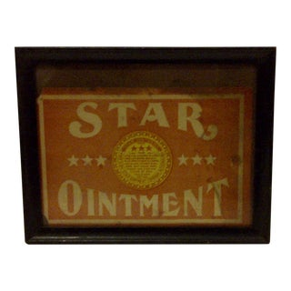 """Vintage Framed Crate Box Label For """"Star Ointment"""" Circa 1900"""