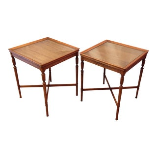 Antique Mahogany Side Tables With Glass Top - Set of 2