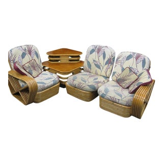 Paul Frankl Rattan Sofa & Table - Set of 4