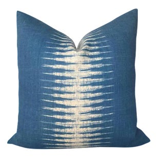 Peter Dunham Indigo Ikat Linen Pillow Cover