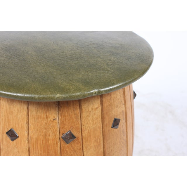 Oak Barrel Seating with Stools - Set of 4 - Image 7 of 7