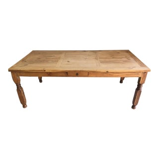 Mexican Carved Wood Single Drawer Dining Table