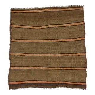 Vintage Turkish Orange Striped Square Wool Kilim Rug - 5′2″ × 5′6″