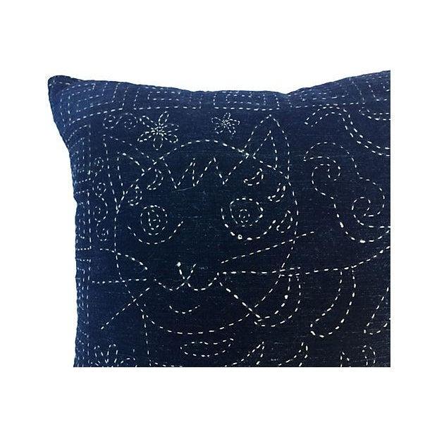 Antique Indigo Embroidered Cat Pillow - Image 2 of 5