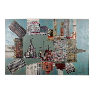 Milton Kemnitz Montage of Detroit Buildings Oil on Masonite