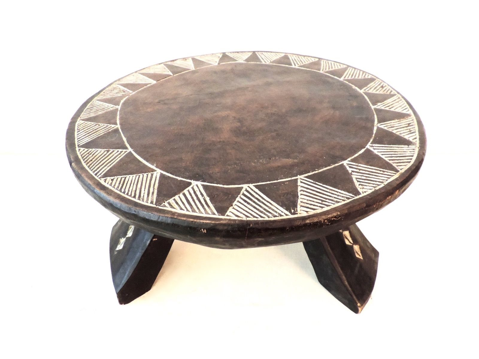 African Baule Low Stool With Carved Pattern Chairish