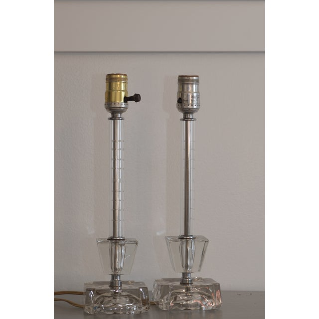 Image of Mid-Century Etched Glass Two Tier Lamps - A Pair