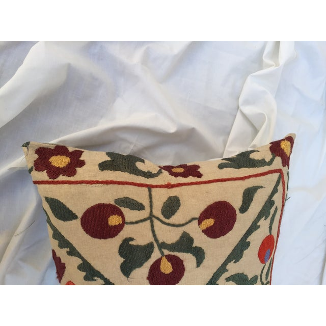 Antique Embroidered Turkish Suzani Pillow - Image 6 of 7