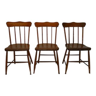 Antique Country Style Spindle Back Plank Chairs - Set of 3
