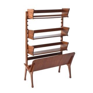 Italian Modern Walnut Rolling Adjustable Book Shelf, Cesare Lacca